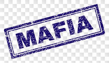 MAFIA stamp seal imprint with rubber print style and double framed rectangle shape. Stamp is placed on a transparent background. Blue vector rubber print of MAFIA caption with scratched texture.
