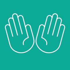 Hände offen, zehn Finger - Icon, Piktogramm, grafisches Element - mint, weiß