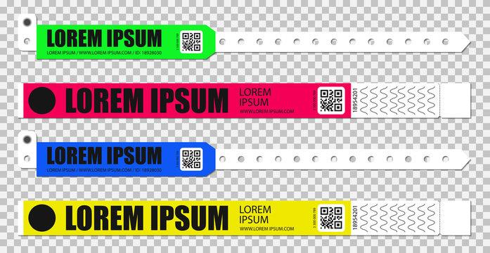 Set of bracelets for entrance to the event. Live performance entrance vector bracelets templates. Dance, Music or Concerts. entrance to fan zone