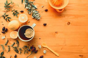 Rosehip herbal tea flt lay top view