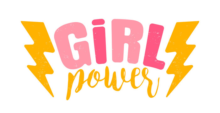 Vector vintage logo of a girl power. Retro emblem for women boxing. Retro poster with text of a girl power