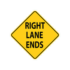 USA traffic road sign. safely merge to the left. vector illustration