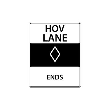 USA traffic road sign. high occupancy vehicle lane ends. vector illustration