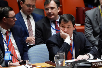 First Deputy Permanent Representative of Russia to UN Polyanskiy listens at Crimea meeting at UN HQ in New York City