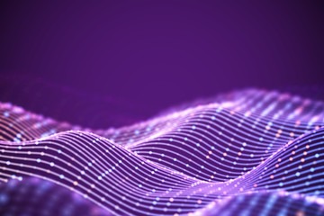 3D Sound waves with colored dots. Big data abstract visualization. Digital concept: virtual landscape. Futuristic background. Pink sound waves, visual audio waves equalizer, EPS 10 vector illustration