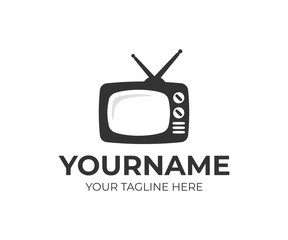 Television logo design. Streaming TV vector design. TV broadcast logotype