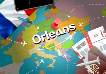 Orleans city travel and tourism destination concept. France flag and Orleans city on map. France travel concept map background. Tickets Planes and flights to Orleans holidays French vacation