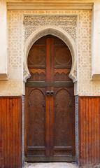 Decorated door in medina of Fez