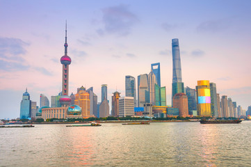 Fototapete - Colorful sunset over Shanghai
