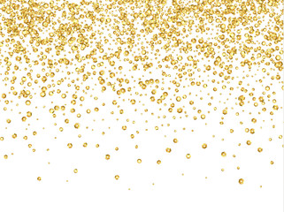 Gold sequins texture realistic design isolated on white background, golden glitter