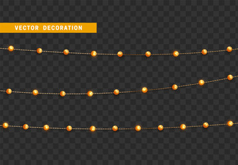 Christmas decorations isolated on transparent background. Golden string garlands with beads realistic set. Gold Xmas decor. Festive design element