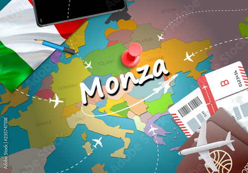 Monza City Travel And Tourism Destination Concept Italy Flag And