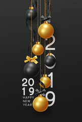Happy New Year 2019. Christmas Background hanging gold and black balls with ribbon and bow. Xmas greeting card with decorative bauble