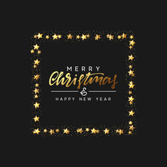 Christmas background with decorative gold stars, bright golden glitter. Handwritten text Merry Christmas and Happy New Year. Xmas greeting card, banner, web poster. Festive vector illustration.