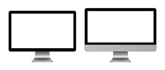 A personal computer monitor in a flat vector style