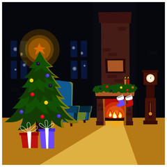 merry christmas tree and gifts
