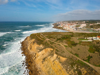 """Aerial view in the Portuguese coastline with """"Macas Beach Village"""" in background. Portugal"""
