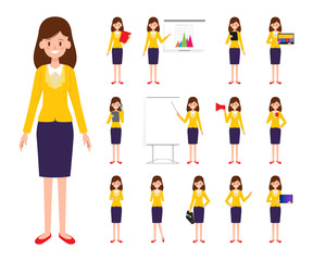Set Business Woman character in job.