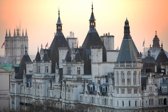 Whitehall Court at sunset in London