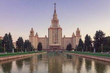 Moscow State University building with a pond in the foreground