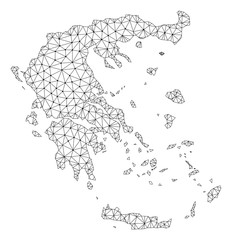 Polygonal mesh map of Greece in black color. Abstract mesh lines, triangles and points with map of Greece. Wire frame 2D polygonal line network in vector format. Carcass model for patriotic posters.
