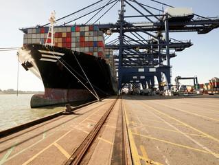 Cargo ship at Port of Felixstowe, England