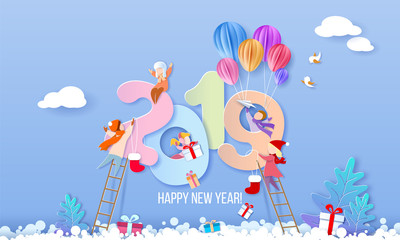 2019 Happy New Year design card with kids