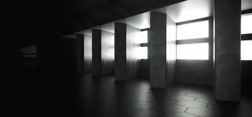 Futuristic Modern Sci Fi Dark Elegant Grunge Concrete Empty Long Tunnel Corridor Reflective Material Empty Space For Text And White Window Light Led Concrete Big Columns 3D Rendering