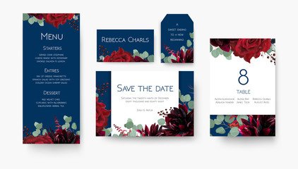 Wedding save the date, menu, label, table number, place card floral design set. Vintage vine Red rose flowers, burgundy dahlias, eucalyptus silver branches & berries decoration on navy blue backgorund