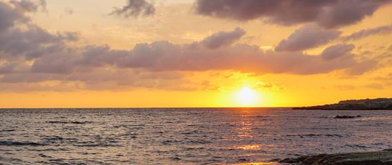 Golden sunset over the sea . Tarkhankut, Crimea . Russia.