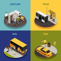 Travel People Isometric Design Concept