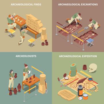Archeology Isometric Concept Icons Set