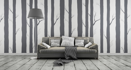 Sofa vor Wald-Tapete
