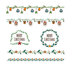 set of merry christmas design elements