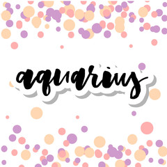 Zodiac Sign Aquarius Logo and Air Lettering with Aquarius Constellation Stars and Dates in Zodiac Circle - Black and Beige Elements on White Rough Paper Background - Vector Vintage Graphic Design