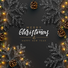 Christmas Background. Xmas design of sparkling realistic lights garland, black snowflake and glitter gold. Christmas banner, greeting cards, headers, poster website. Stylish black pattern