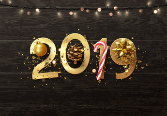 New Year 2019 the gold font numbers. Christmas decorative Realistic elements design on wooden texture