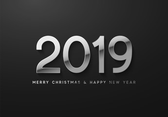 New Year 2019 the silver font numbers. Elegant white label.