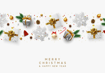 Christmas composition with decorative elements of design. Holiday decoration the border of realistic objects. Xmas greeting card, golden text Merry Christmas and Happy New Year. Vector illustration