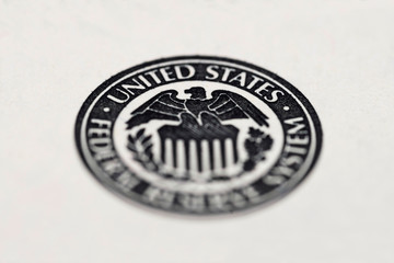 Close-up of United States Federal Reserve System symbol. United States Federal Reserve System symbol