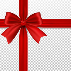 Red bow with ribbon, isolated on transparent background.