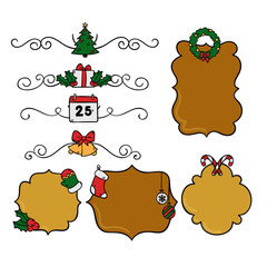 set of merry christmas elements