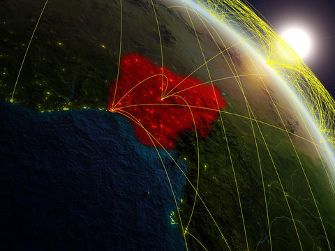 Nigeria from space on realistic model of planet Earth with network. Concept of digital technology, connectivity and travel.