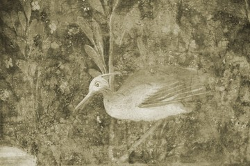Details of a fresco from Pompeii shot in Sepia.
