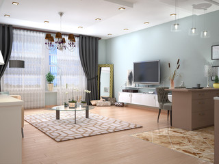 Interior living room with TV on the wall. 3D illustration