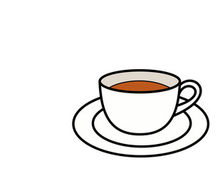 ティーカップお茶とソーサー(色)