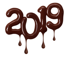 Date of the New Year 2019 made of melted chocolate