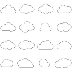 Clouds line art icon. Storage solution element, databases, networking, software image. Cloud or meteorology concept. Vector icons set.