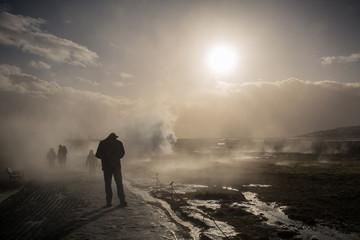 Walking among the Geysers in Geysir Iceland