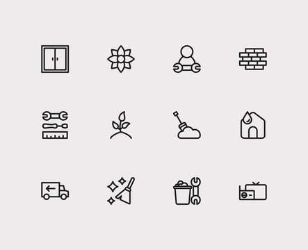 Housekeeping icons set. Housekeeping tool and housekeeping icons with snow removal, clean house and instrument. Set of dust for web app logo UI design.